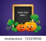 halloween pumpkins with... | Shutterstock .eps vector #715378930