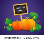 colorful pumpkins with signboard | Shutterstock .eps vector #715378948