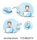 modern business man looking... | Shutterstock .eps vector #715382074