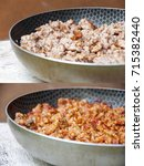Small photo of A set of two photos which describe the process of bolognese meal preparing: a side view of a part of a pan full of raw a bit fried meat (left) and cooked meat with sauce (right)