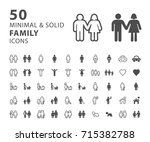 set of 50 family minimal and... | Shutterstock .eps vector #715382788
