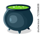 vector witch pot with poison... | Shutterstock .eps vector #715386838