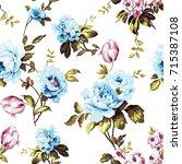 shabby chic vintage roses ... | Shutterstock .eps vector #715387108