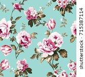 shabby chic vintage roses ... | Shutterstock .eps vector #715387114