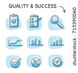 icon set of quality and rating... | Shutterstock .eps vector #715390060