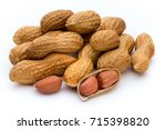 dried peanuts on the white... | Shutterstock . vector #715398820