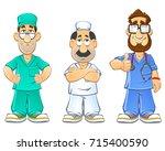 cartoon doctors. gestures and... | Shutterstock .eps vector #715400590