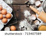 baking or cooking wooden... | Shutterstock . vector #715407589