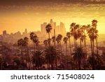 beautiful sunset of los angeles ...   Shutterstock . vector #715408024