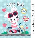 happy cartoon cute rabbit... | Shutterstock .eps vector #715414774