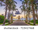 palm beach  florida  usa clock... | Shutterstock . vector #715417468