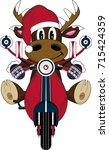 cartoon santa reindeer on... | Shutterstock . vector #715424359