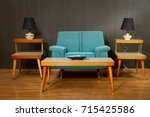 a vintage styled living room | Shutterstock . vector #715425586