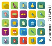 barber color icons with long... | Shutterstock .eps vector #715429654