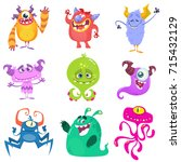 Stock vector cartoon monsters vector set of cartoon monsters isolated design for print party decoration t 715432129