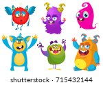 cartoon monsters. vector set of ... | Shutterstock .eps vector #715432144
