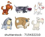 cartoon dogs set. vector... | Shutterstock .eps vector #715432210
