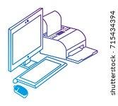 computer desktop with printer | Shutterstock .eps vector #715434394