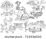 vector black and white set with ... | Shutterstock .eps vector #715436020