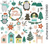 a collection of cute christmas... | Shutterstock .eps vector #715438480