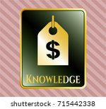 gold emblem with money tag... | Shutterstock .eps vector #715442338