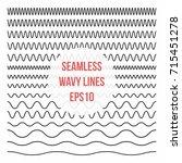 wavy lines set. horizontal... | Shutterstock .eps vector #715451278