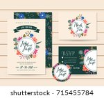 modern save the date floral... | Shutterstock .eps vector #715455784