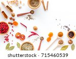 colorful dry herbs and spices... | Shutterstock . vector #715460539