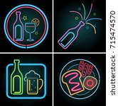 neon light design for beverage... | Shutterstock .eps vector #715474570