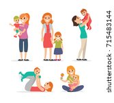 family  mothers and children | Shutterstock .eps vector #715483144