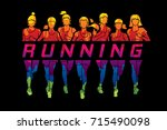 marathon runners  group of... | Shutterstock .eps vector #715490098