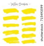 vector brushes. set of yellow...   Shutterstock .eps vector #715493599