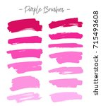vector brushes. set of purple... | Shutterstock .eps vector #715493608