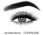 hand drawn woman's luxurious... | Shutterstock .eps vector #715496248