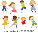 group of students jumping... | Shutterstock .eps vector #715503280