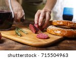 salami day in the usa or... | Shutterstock . vector #715504963