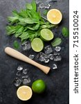 mojito cocktail making. mint ... | Shutterstock . vector #715510024