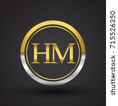 hm letter logo in a circle ... | Shutterstock .eps vector #715526350