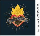 sacred mexican heart vector.... | Shutterstock .eps vector #715530220