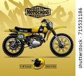vintage scrambler motorcycle... | Shutterstock .eps vector #715531186