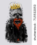 king of hearts. colorful... | Shutterstock . vector #715532053