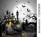 vector illustration of creepy... | Shutterstock .eps vector #715542898