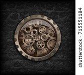 illustration. metal clock gear... | Shutterstock . vector #715551184