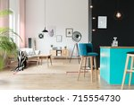 designer lamp in open relax... | Shutterstock . vector #715554730
