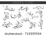 set of swirls ornaments  hand... | Shutterstock .eps vector #715559554