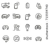 electric car linear icons set.... | Shutterstock .eps vector #715559740