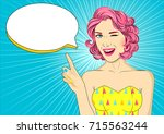 young sexy woman winks with... | Shutterstock .eps vector #715563244
