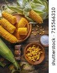 top view of homemade golden... | Shutterstock . vector #715566310