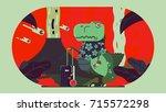 t rex illustration | Shutterstock .eps vector #715572298