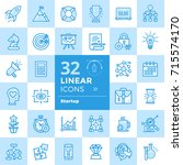 set of linear icons for startup ... | Shutterstock . vector #715574170